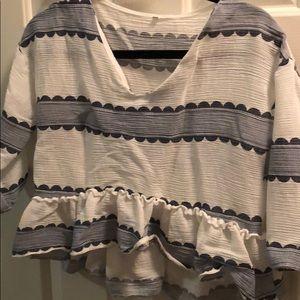 Crop peplum quarter sleeve stripped shirt